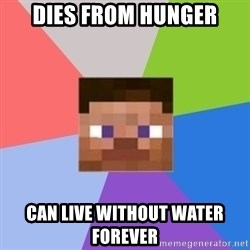 Minecraft Man - dIES from hunger can live without water forever
