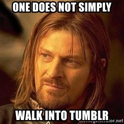 Boromir - One does not simply walk into tumblr