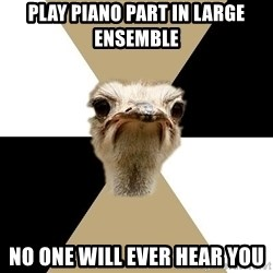 Music Major Ostrich - play piano part in large ensemble no one will ever hear you