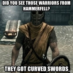 skyrim whiterun guard - Did you see those warriors from hammerfell? they got curved swords
