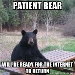 Patient Bear - Patient Bear will be ready for the internet to return