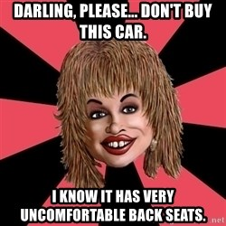 Funny Bunny - Darling, PLEASE... don't buy this car. I KNOW It has very uncomfortable BACK SEATS.