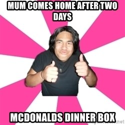 Over Excited Asian - mum comes home after two days mcdonalds dinner box