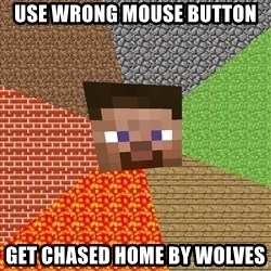 Minecraft Guy - Use wrong mouse button get chased home by wolves