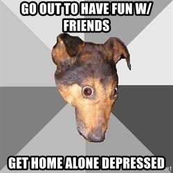 Depressed Dog - go out to have fun w/ friends get home alone depressed