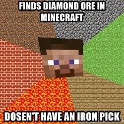 Minecraft Guy - finds diamond ore in minecraft dosen't have an iron pick