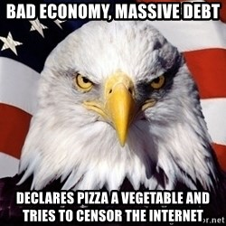American Pride Eagle - bad economy, massive debt declares pizza a vegetable and tries to censor the internet