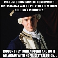 Hollywood Pirate Hunter - 1948 - Studios banned from owning cinemas as a way to prevent them from holding a monopoly. 1980s - They turn around and do it all again with home distribution.