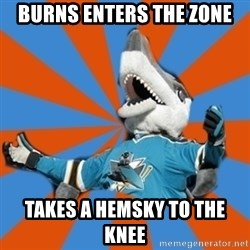 SJ Sharks Fail - burns enters the zone takes a hemsky to the knee