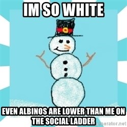 Racist Snowman - Im so white Even Albinos are lower than me on the social ladder