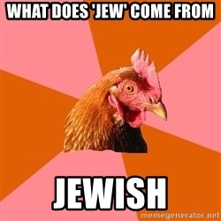 Anti Joke Chicken - What does 'jew' come from jewish