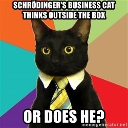 Business Cat - Schrödinger's BUSINESS cat THINKS OUTSIDE THE BOX OR DOES HE?