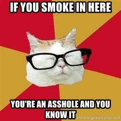 Intelligent Cat - if you smoke in here you're an asshole and you know it