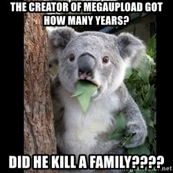 Koala can't believe it - the creator of megaupload got how many years? did he kill a family????