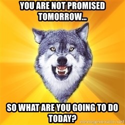 Courage Wolf - you are not promised tomorrow... so what are you going to do today?