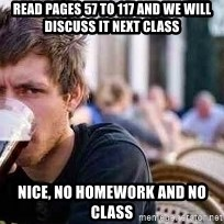 The Lazy College Senior - Read pages 57 to 117 and we will discuss it next class Nice, No Homework and No class
