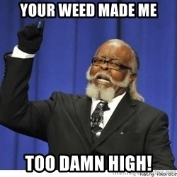 The tolerance is to damn high! - Your weed made me Too damn high!