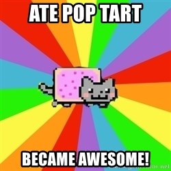 nyan nyan nyan cat - Ate pop tart  Became awesome!
