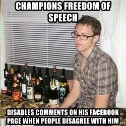Morally Superior Ryan - Champions freedom of speech Disables comments on his facebook page when people disagree with him