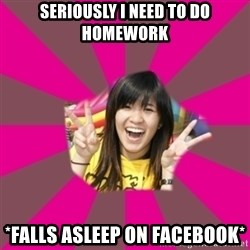 GOOD CHINESE STUDENT - Seriously i need to do homework *falls asleep on facebook*