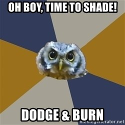 Art Newbie Owl - oh boy, time to shade! dodge & burn