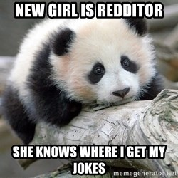 sad panda - new girl is Redditor she knows where i get my jokes
