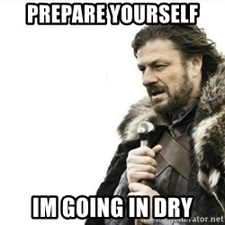 Prepare yourself - prepare yourself im going in dry