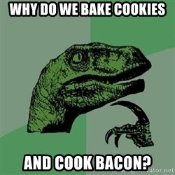 Philosoraptor - Why do we bake cookies and cook bacon?