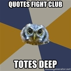 Art Newbie Owl - Quotes fight club totes deep