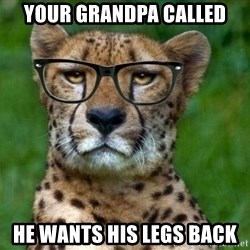 Hipster Cheetah - your grandpa called he wants his legs back