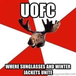 Stereotypical Canadian Moose - uofc where sunglasses and winter jackets unite