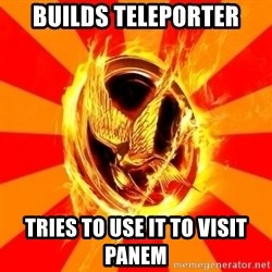 Typical fan of the hunger games - builds teleporter tries to use it to visit Panem