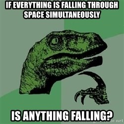 Philosoraptor - If everything is falling through space simultaneously is anything falling?