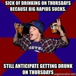 Sunny Student - sick of drinking on thursdays because big rapids sucks. still anticipate getting drunk on thursdays