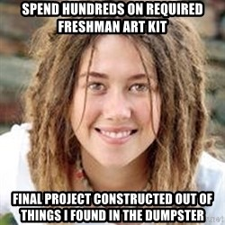 Dread College Chick - Spend hundreds on required freshman art kit final project constructed out of things i found in the dumpster