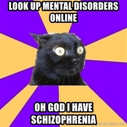 Anxiety Cat - look up mental DISORDERs online oh god i have schizophrenia