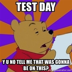 Skeptical Pooh - TEST DAY Y U NO TELL ME THAT WAS GONNA BE ON THIS?