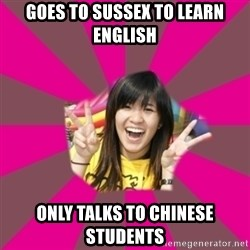 GOOD CHINESE STUDENT - Goes to Sussex to learn english only talks to chinese students