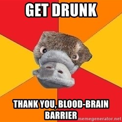 Psychology Student Platypus - get drunk thank you, blood-brain barrier