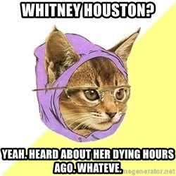 Hipster Kitty - Whitney Houston? Yeah. Heard about her dying hours ago. whateve.