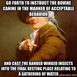 Joseph Ducreux - Go forth to instruct the bovine canine in the manner of acceptable behavior and cast the banded winged insects into the final resting place relating to a gathering of water