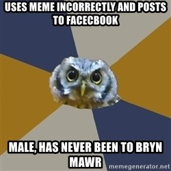 Art Newbie Owl - Uses meme incorrectly and posts to facecbook Male, has never been to Bryn Mawr