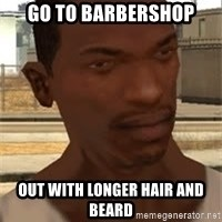 Gta San Andreas - Go to barbershop out with longer hair and beard