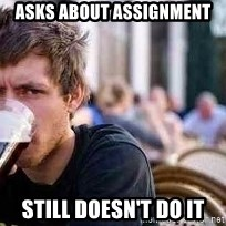 The Lazy College Senior - ASKS ABOUT ASSIGNMENT STILL DOESN't do it