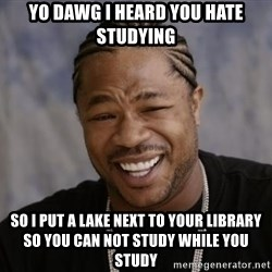 xzibit-yo-dawg - Yo dawg i heard you hate studying so i put a lake next to your library so you can not study while you study