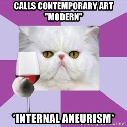 "Art History Major Cat - calls contemporary art ""modern"" *internal aneurism*"
