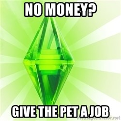 Sims - no money? give the pet a job