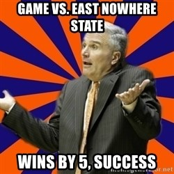 Befuddled Bruce - game vs. east nowhere state wins by 5, success