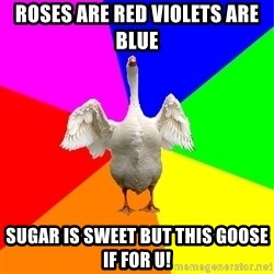 Flatulent Goose Meme - Roses are red violets are blue SuGar is sweet but this goose if for u!