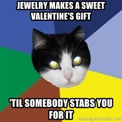 Winnipeg Cat - Jewelry makes a sweet valentine's gift 'til somebody stabs you for it